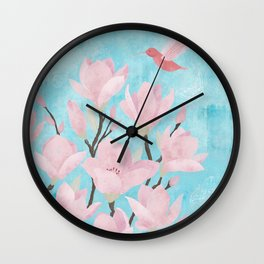 Magnolia Blossoms 4 Wall Clock