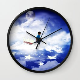 Star Boy Pulling Little Red Wagon Wall Clock