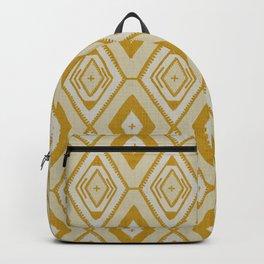 Mustard yellow and white tribal diamond pattern Backpack