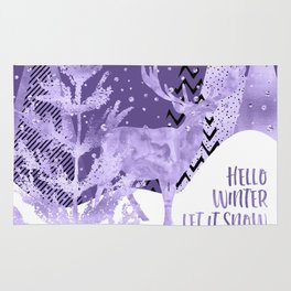 GRAPHIC ART SILVER Hello winter let it snow | Ultra Violet Rug
