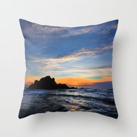 big sur Throw Pillows featuring Big Sur sunset  by davehare