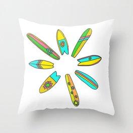 Retro Surfboard Flower Power Throw Pillow