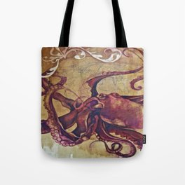 Female Octopus and Her Mushroom Tote Bag