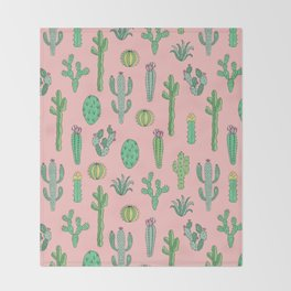 Cactus Pattern Pink Throw Blanket