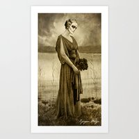 Dark Vintage Portrait: Flor de Muertos Art Print