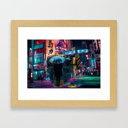 Japan street night Framed Art Print