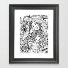 Tiny Claws - Tropical Cats - Black and White - Illustration Framed Art Print