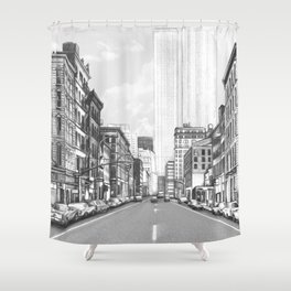 """""""Old New York"""" Pencil Drawing Shower Curtain"""