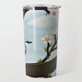 Blue Jay on Almond Blossom Tree Travel Mug