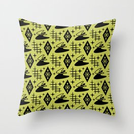 Mid Century Modern Boomerang Abstract Pattern Chartreuse and Black 361 Throw Pillow