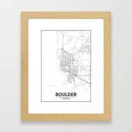 Minimal City Maps - Map Of Boulder, Colorado, United States Framed Art Print