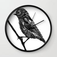ornate Wall Clocks featuring Ornate Bird by ZantosDesign