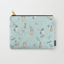 Rabbits / Bunnies Floral pattern Carry-All Pouch