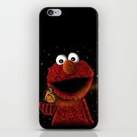 elmo iPhone & iPod Skins featuring Elmo and Little Butterfly by Fathi