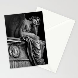 Giulio Monteverde and the Angel of the Night in Campo Verano black and white photograph / art photography Stationery Cards