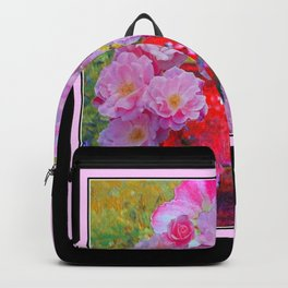 BLOOMING PINK ROSES IN RED VASE BLACK FRAME Backpack