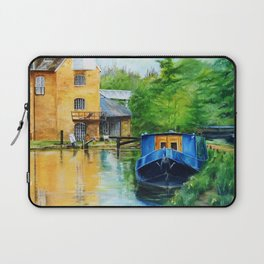 A narrow boat stops after passing through Coxes Lock near Addlestone in Surrey.  Laptop Sleeve