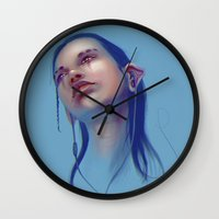 sci fi Wall Clocks featuring Sci-fi Music listening by Thubakabra