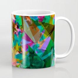 Bright green stars from foil on orange shards of glass. Coffee Mug