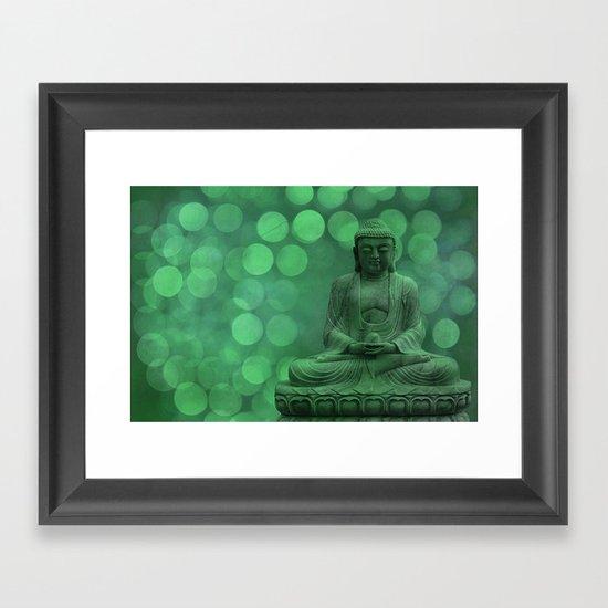 buddha light green II Framed Art Print