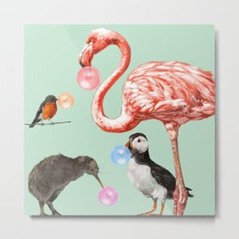 Bubble Gum Birds Gang in Green Metal Print