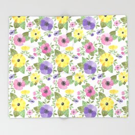 Spring Bouquet Watercolor Throw Blanket