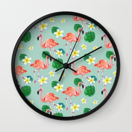 Tropical Flamingo Mood Wall Clock