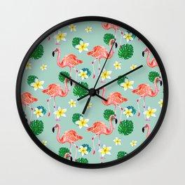 Tropical Flamingo Mood Wall Clock