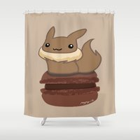 macaron Shower Curtains featuring Eevee Macaron by Mayying