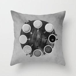 Coffee Circle (Black and White) Throw Pillow