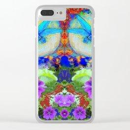 """BLUE """"ZINGER"""" DRAGONFLIES  & PURPLE FLOWERS ART Clear iPhone Case"""