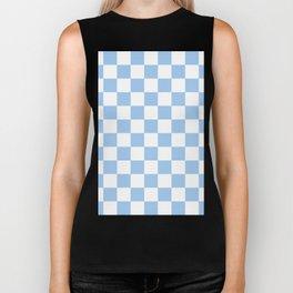 Checkered - White and Baby Blue Biker Tank