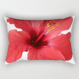 Scarlet Hibiscus Tropical Flower Vector Rectangular Pillow