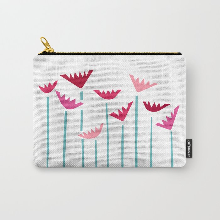 Teal and Pink Tropical Plants Collage Carry-All Pouch