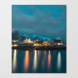 beautiful scandinavian village during dusk hours Canvas Print