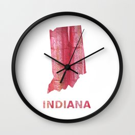 Indiana map outline red stained wash drawing pattern Wall Clock