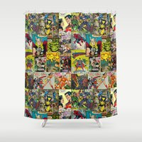 comic book Shower Curtains featuring COMIC by Vickn