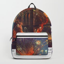 NEW YORK FIREWORKS city old map Father Day art print poster Backpack