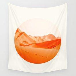 Mid Century Modern Round Circle Photo Vibrant Orange Sand Desert Dunes Wall Tapestry