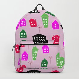 Abstract pink black green hand painted geometrical pattern Backpack