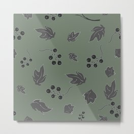 Seamless pattern with floating leaves on the wind Metal Print
