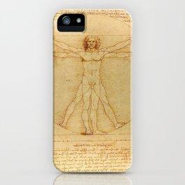The Vitruvian Man 1405 (L Uomo Vitruviano) Leonardo da Vinci Artwork for Prints Posters Tshirts Men iPhone Case