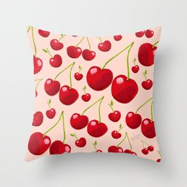 Red retro Cherries on Pink Blush_pastel seamless pattern Throw Pillow