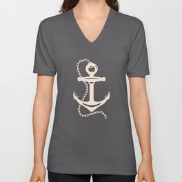 AFE Navy & Beige Anchor and Chain Unisex V-Neck