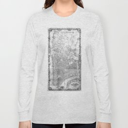 Vintage Map of New York City (1852) BW Long Sleeve T-shirt