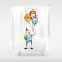 finn and jake Shower Curtains featuring Finn with Birthday Balloons Jake Princess Bubblegum BMO by Olechka