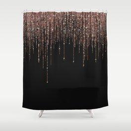 Luxury Black Rose Gold Sparkly Glitter Fringe Shower Curtain