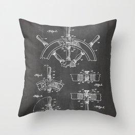 Ships Wheel Patent - Boat Wheel Art - Black Chalkboard Throw Pillow