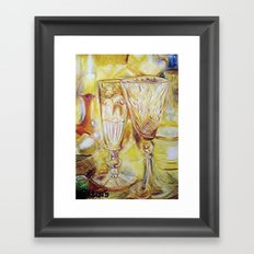 CRAYON LOVE - Candles and glasses Framed Art Print