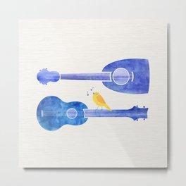 Songbird Blues ~ Cute bird on ukulele Metal Print